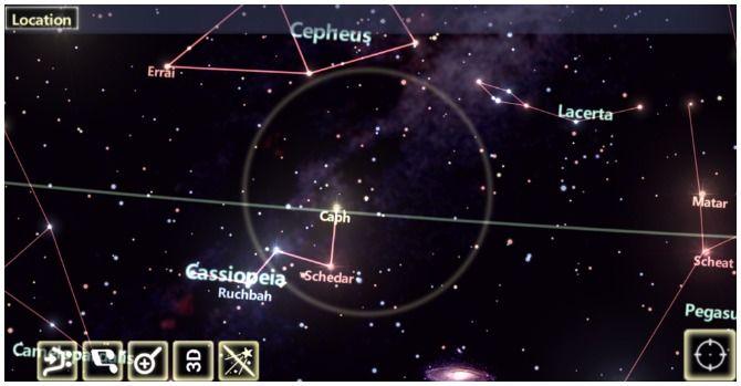 Screenshots from Star Tracker app