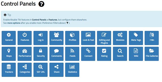 tiki wiki management screen