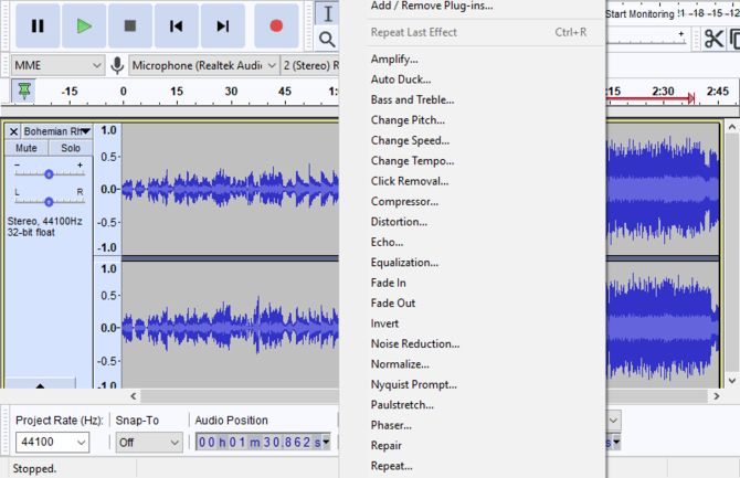use effect to edit audio track