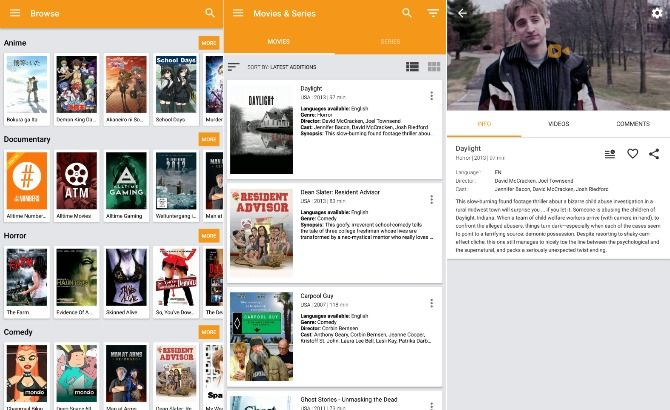 Free movie app Viewster screenshots