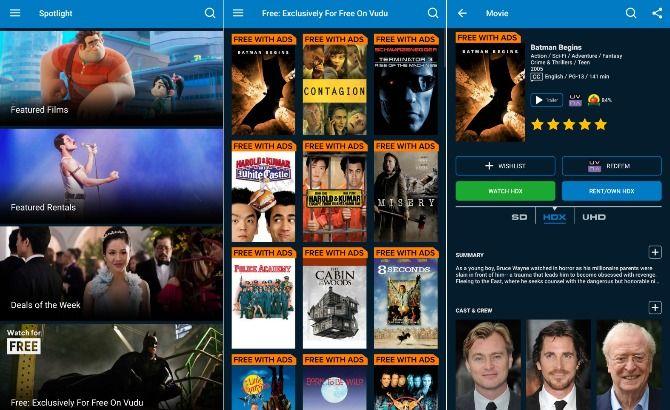Free movie app Vudu screenshots