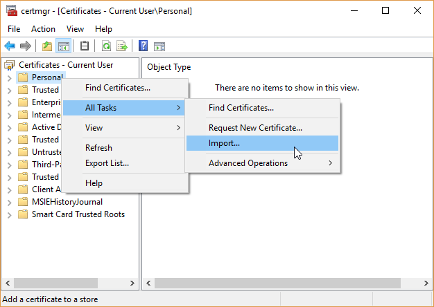 windows certificate manager import certificate