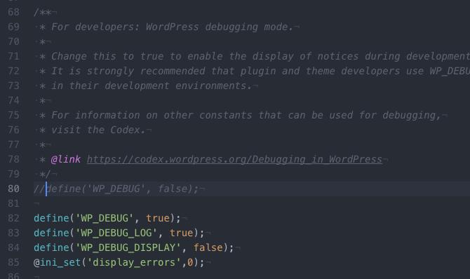 enable wordpress debug mode in wp_config