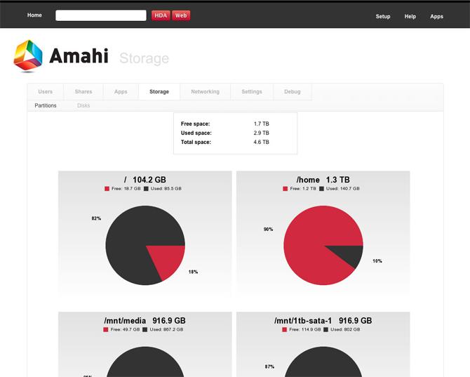 Amahi Server Web Interface Storage