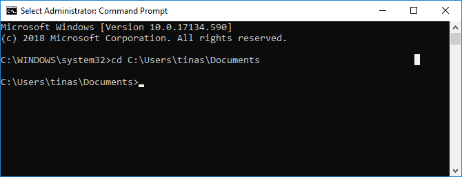 Navigate to file path in Windows Command Prompt.