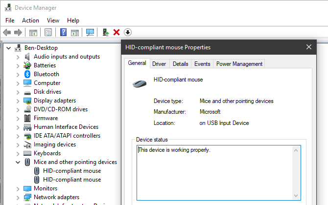 Device Manager Manage Mice