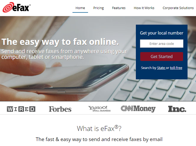 eFax Online Fax Service Main Website Page