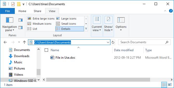 Find file path in Windows File Explorer.
