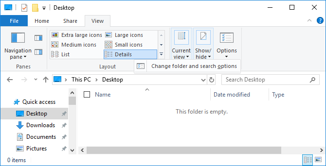 Change folder and search options in Windows File Explorer.