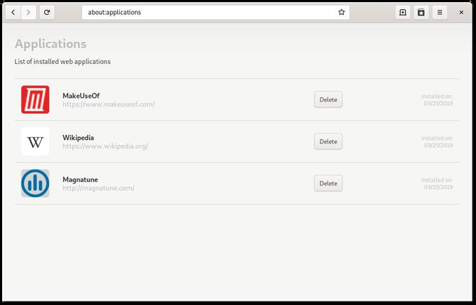 Встроенный менеджер приложений GNOME Web