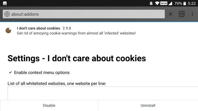 I Don't Care About cookies Firefox Android