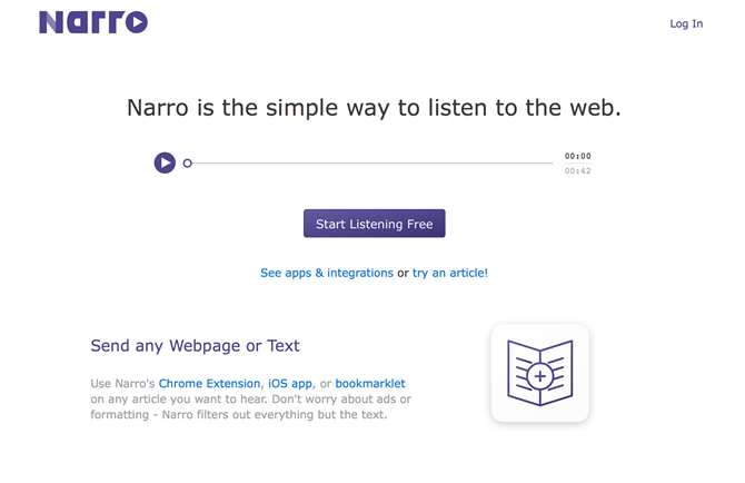Listen to the web with Narro