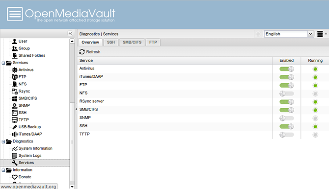 OpenMediaVault Web Interface Services List