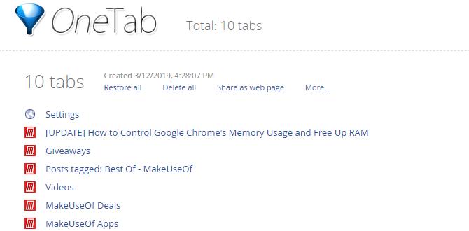 One Tab Chrome Tab Extension