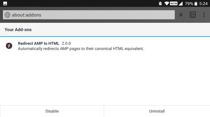 Redirect AMP to HTML Firefox Android