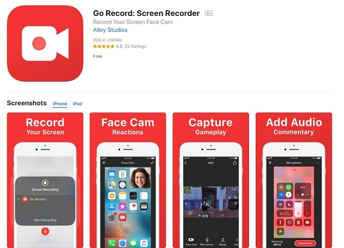 use iTunes store to find screen recording apps