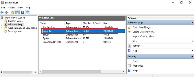 Event Viewer Windows 10 shows logon audits