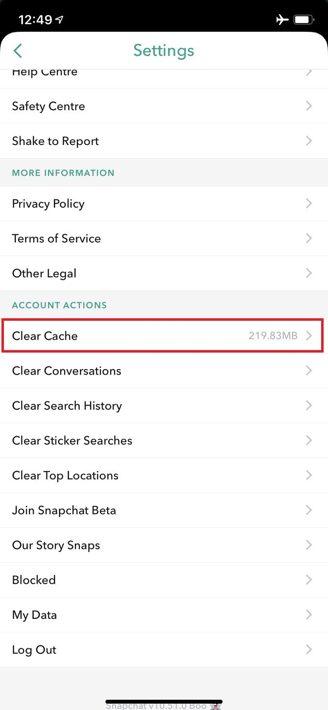 How to clear snapchat data history