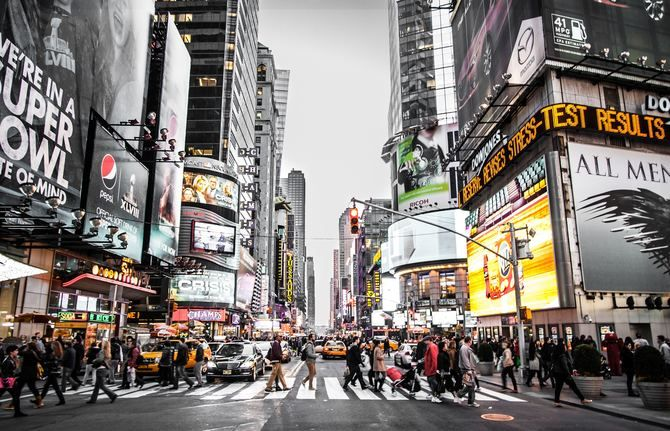 Ads on billboards in New York City's Times Square
