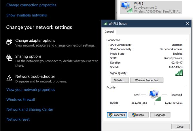 Windows 10 Открыть настройки сети