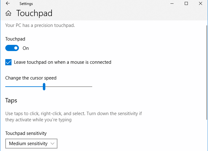 Windows 10 Touchpad Settings