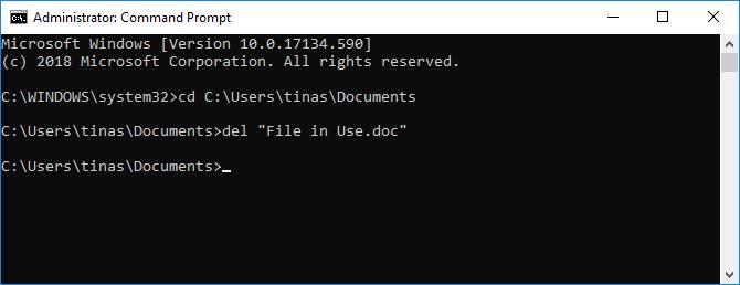 Delete file in Windows command prompt.