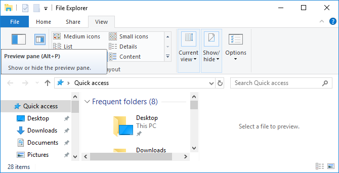 Close Windows File Explorer preview pane.