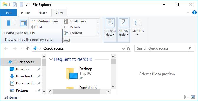 Close Windows File Explorer preview pane.
