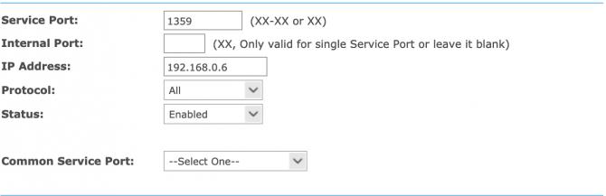 Example port forwarding setup