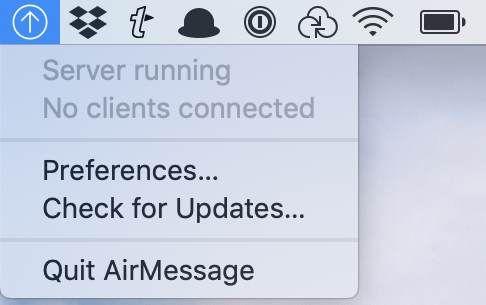 AirMessage Server running in the menu bar