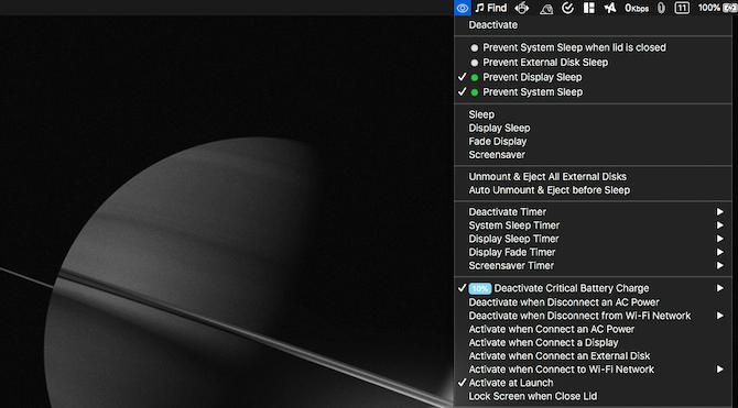 Anti Sleep Mac menu bar options