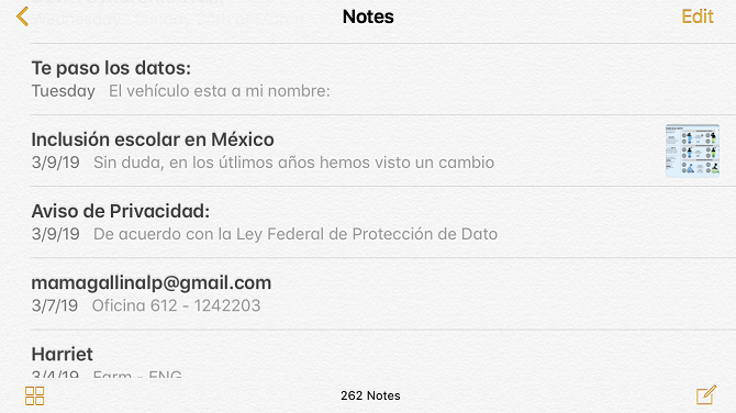 apple notes list of notes