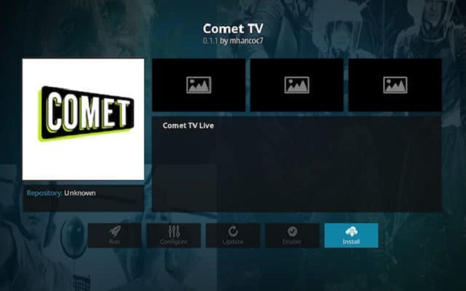 comet tv kodi add on