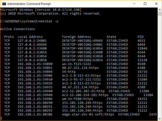 command prompt netstat