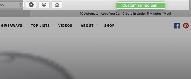 Customize Toolbar option in Safari on Mac