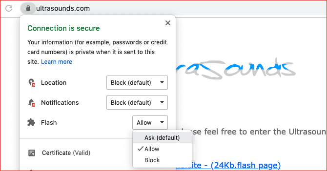 change flash permissions in google chrome padlock