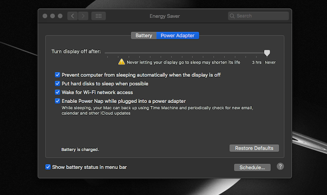 Energy Saver Mac settings