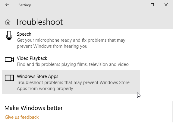 error windows store app resets