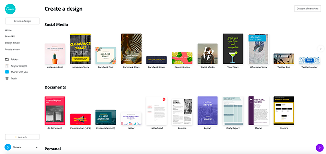 Canva landing page for browsing templates