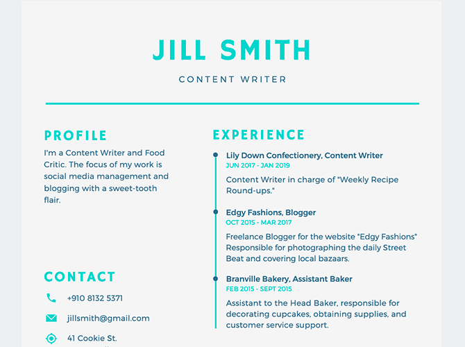 Filling out work experience on a Canva resume