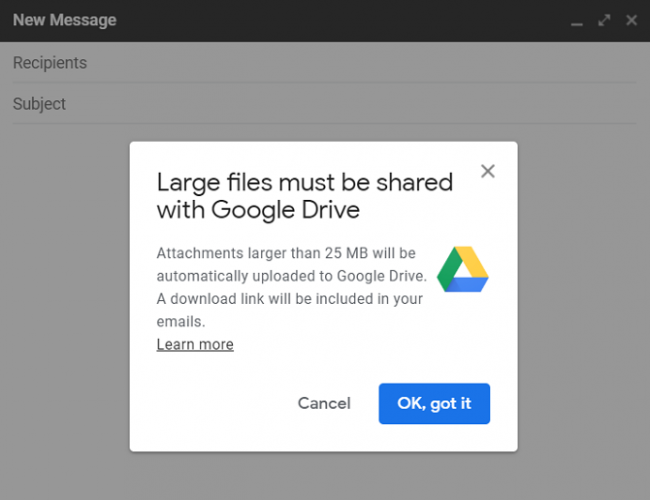 upload to google drive prompt in gmail