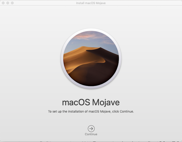 macOS Mojave Installer Welcome Screen