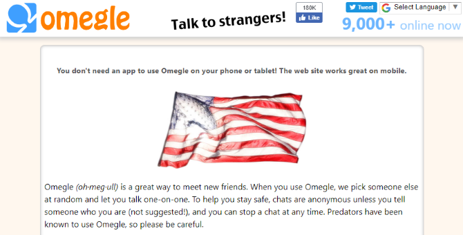 Screenshot of Omegle's homepage