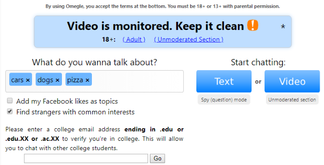 Chat topics omegle Best tags?