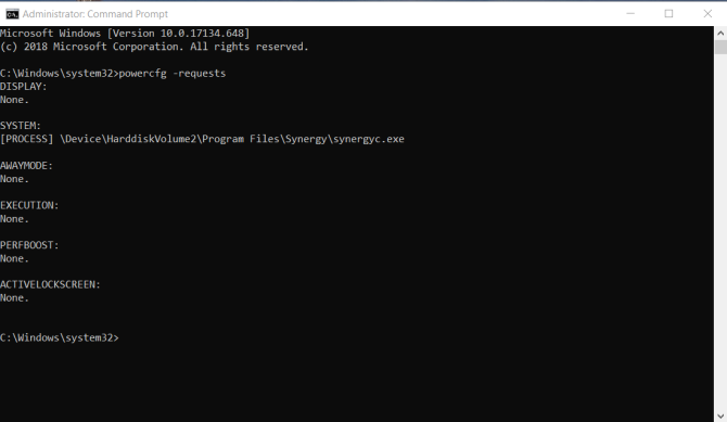 powercfg request in elevated command prompt mode
