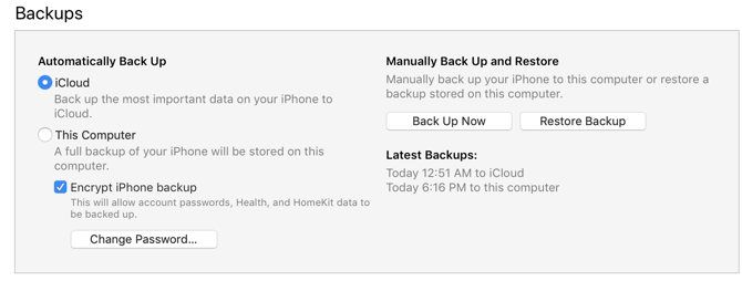 Restoring backup from iTunes