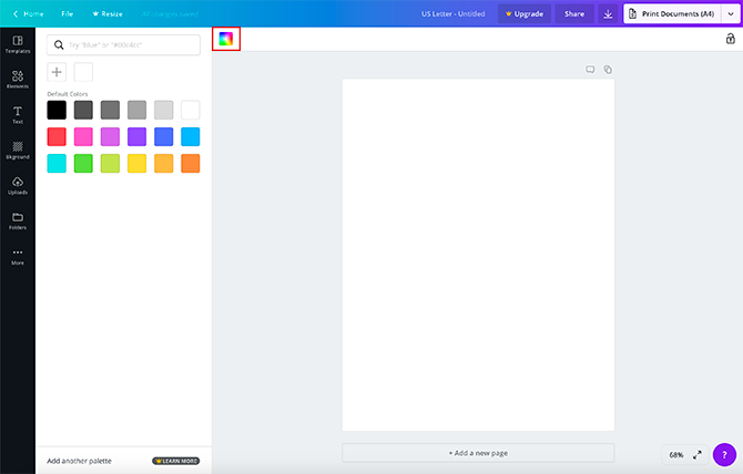 Canva's Background Color Picker
