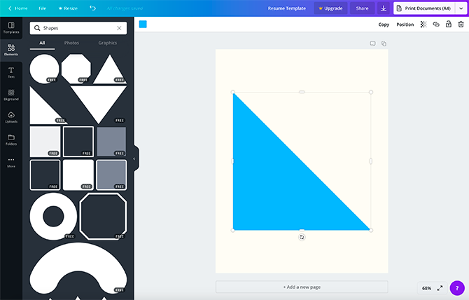 Inserting a Shape Into a Canva Template
