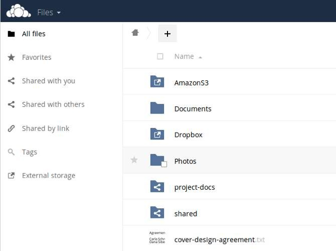 ownCloud user interface