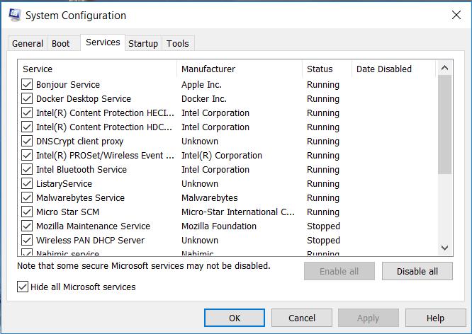 system configuration app in windows 10